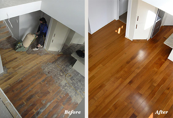 Floor sanding before and after